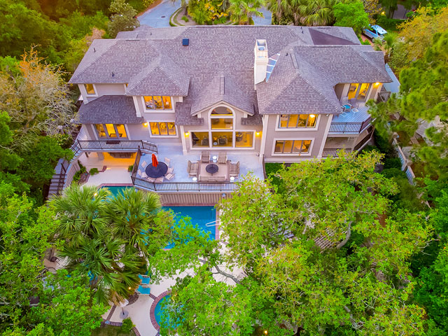 20 Sea Oak-Back of house/ drone/ twilight